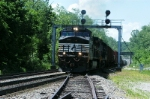 that csx 7575 as second unit powers this freight up the grade