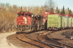 Stack train waits for crew to cross border