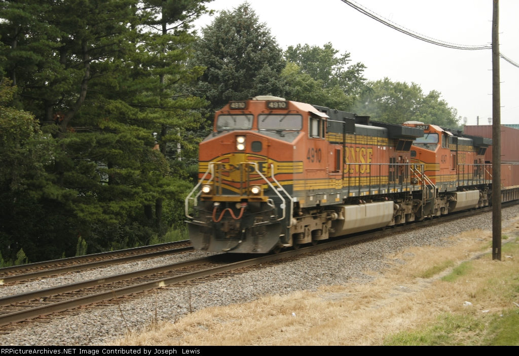 BNSF 4910 leads EB Stack!