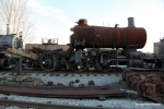 Former CP and Rail Tours Inc. 4-6-0 steamer awaits restoration out back.