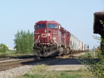CP 9668 Passes the Depot With a Grain Train