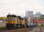 UP 8418 going past downtown