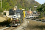 NS 8898 swings its way west along the SPringfield-Hannibal District, after crossing the BNSF K-Line in Hannibal, MO
