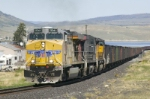 UP 5341 leads and empty set of coal buckets through Scofield, UT, on the way to the Skyline Mine loadout