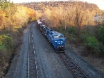 Northbound in the last light of day; the 3rd consecutive conrail leader of the day.