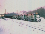 1005-03 Eastbound BN WISX coal train passes Lexington Pkwy bridge on ex-GN