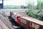 1006-32 SOO Line Railway Job at BN 1st St. North (Hole in the wall) rolls past Mpls GN Depot