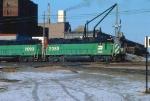 1029-25 Eastbound BN freight passes GN Mpls Depot
