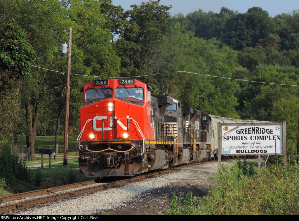 CN 2589 on empty sand train (3)