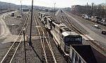 Empty coal train heading into yard