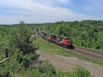 CN 2571 hauling a stack train down the Dundas Sub