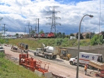 CN 7082 approaching Plains Road bridge rebuilding