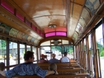 Interior of Trolley at Baltimore Streetcar Museum - note former MA & PA Roundhouse through the window