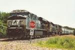 Grain train waits in siding