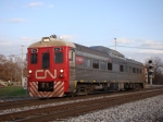 "CN Railway test car on the former ""J"""