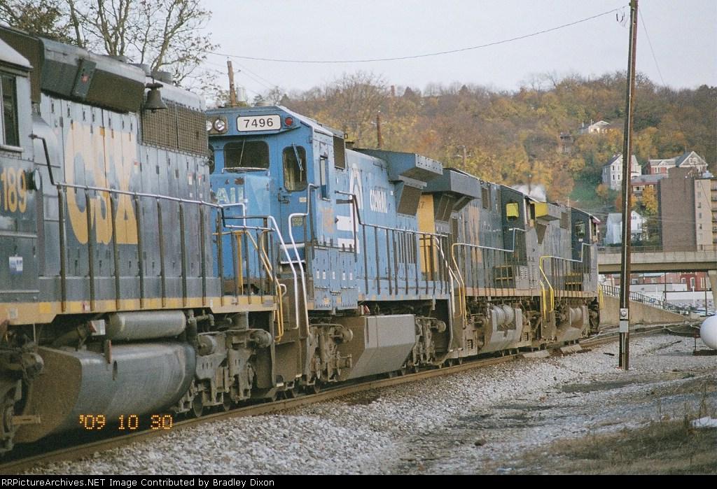 CSX with fall flag train