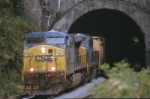 CSX 454 coming out Sand Patch Tunnel