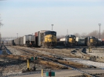 Q334-13 sit in 4 Track as Y195 and S326-13 work the yard