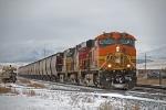 BNSF 7654 leading a grain train