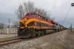 KCS 4684 leads a UP ballest train into East St. Louis