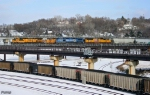 Westbound UP Manifest Train and Eastbound UP Loaded Coal Train DPU Locomotives
