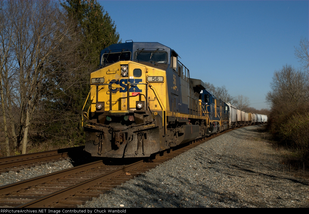 CSX 56 Southbound Grain Train at Stony Hollow Rd