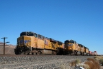UP 5537 sits at Yermo while the UP 4552 passes on track 2.