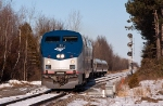 Amtrak 68 departs Rouses Point, passing CPC 188