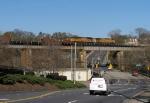CSX Q614 crosses the Oconee River bridge with UP power.