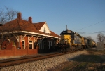 CSX A708 pulls past the depot