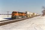 Westbound intermodal behind brand new GEs