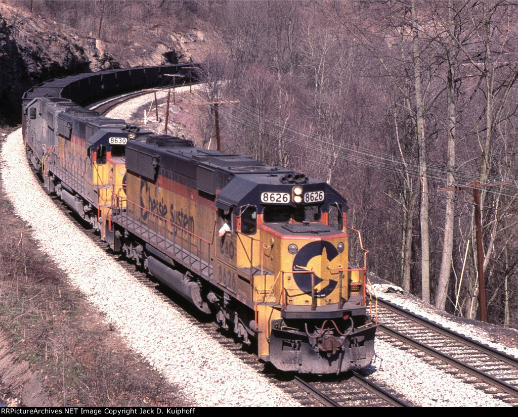 C&O Chessie 8626 leads a west bound coal train,