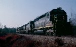 Seaboard Coast Line SD45 #2033 (with GP40's #1530 & 1532, U36B #1758 & GP40 #1627) lead 150 car southbound train #385