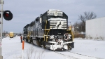 NS GP38-2 5294 getting ready to switch PC although the snow caused some problems with the switches