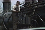 Engineer checks the airpump on new SY Mikado before pulling her first revenue train