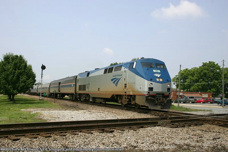 Northbound Amtrak about to cross the ex-SAL