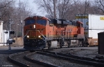 BNSF 7245 rounds the curve at Main Street Elkhart, IN