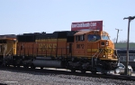 BNSF 8872 passes in front of the Elkhart depot