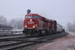 CP 8855 passing the depot heading east out of Elkhart, IN