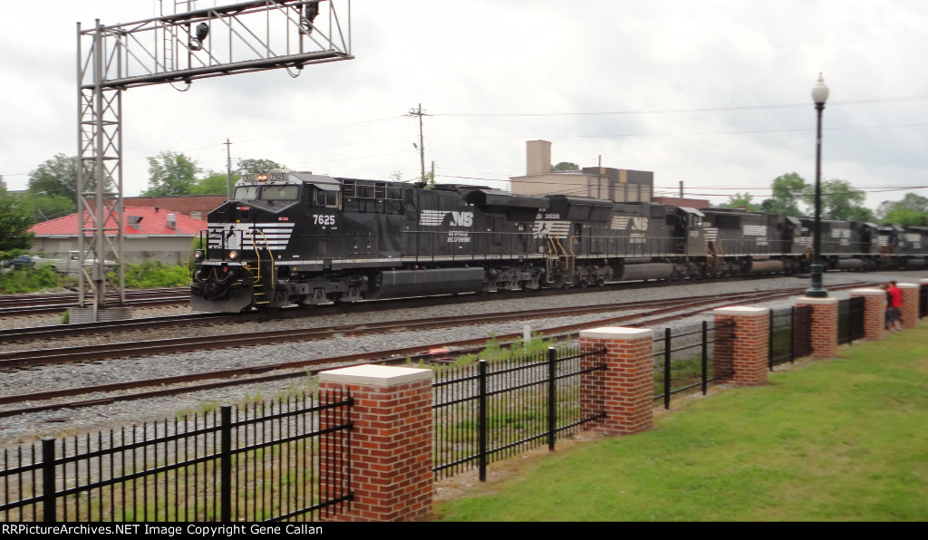 Train with six locomotives northbound at the Dalton Depot