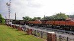 BNSF 6154 and 5785 lead unit coal train past Dalton Depot