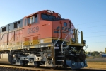 Close up shot of BNSF 6329 cab and LED road number lights as the sun starts to rise.