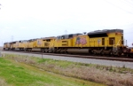 EAST BOUND INTO STRANG YARD WITH STACK TRAIN