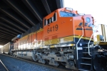 BNSF 6419 waits to head east as a rear DPU on a loaded coal train.