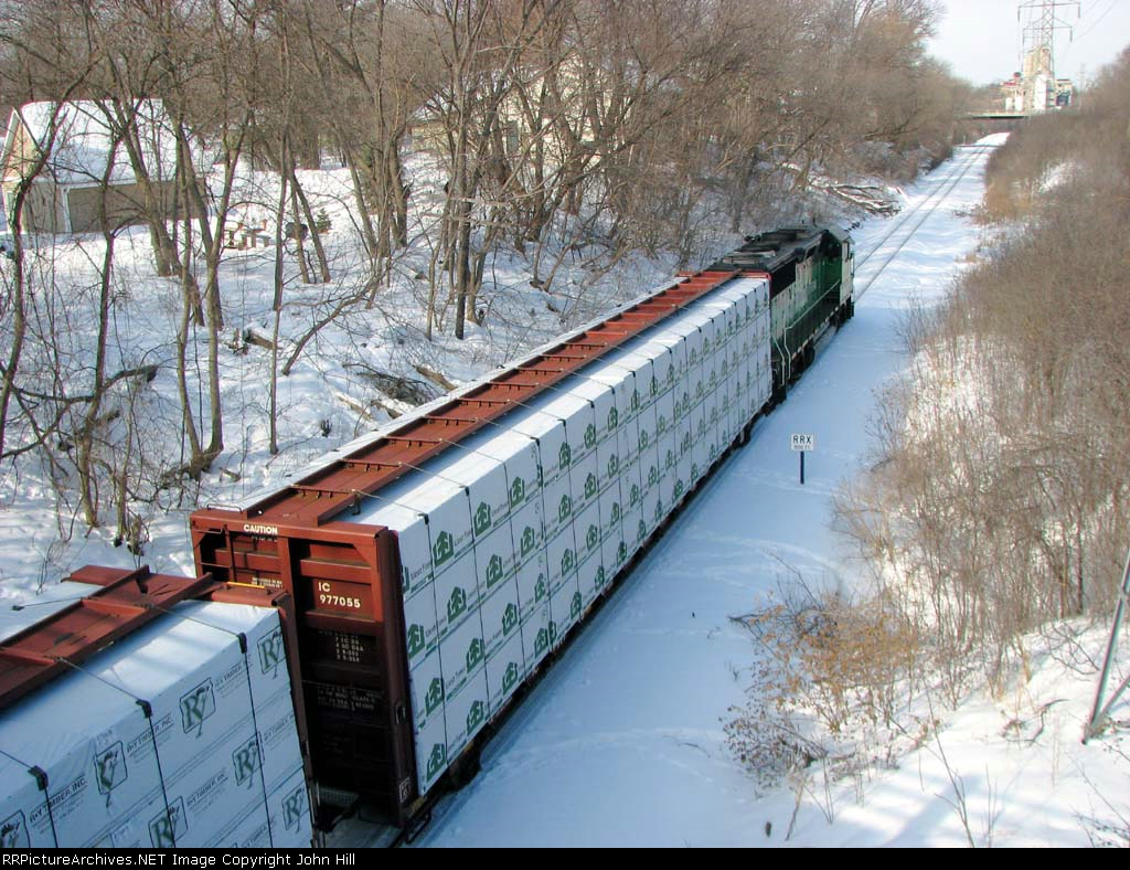 "100222009 BNSF ""Monti Local"" passing under Cedar Lake Road on Monticello Sub."