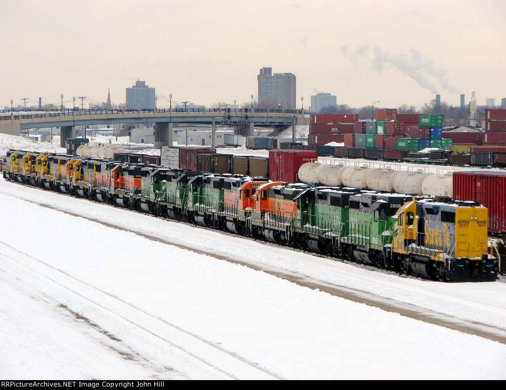 "101218018 Stored locos at BNSF Northtown ""T"" Yard"