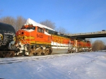 100129002 Eastbound BNSF freight waits in Wayzata Siding