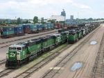 """100616013 Lineup of mostly SD60M's stored at BNSF Northtown """"T"""" Yard"""