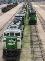 "100616015 Lineup of mostly SD60M's stored at BNSF Northtown ""T"" Yard"
