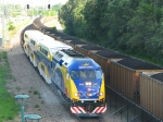 100616037 Westbound Northstar meets eastbound BNSF COLX coal train